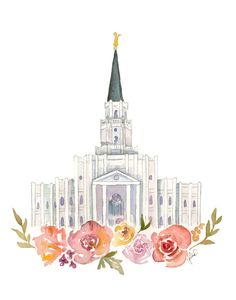 Houston Texas LDS Temple Watercolor by SweetnSandy on Etsy