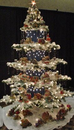 Image result for christmas tree village ladder
