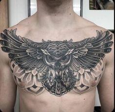 Owl Tattoo Chest, Full Chest Tattoos, Chest Tattoos For Women, Chest Piece Tattoos, Pieces Tattoo, Torso Tattoos, Bild Tattoos, Body Art Tattoos, Sleeve Tattoos