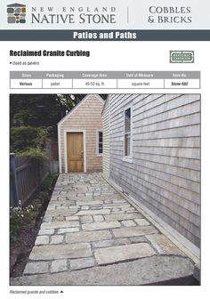 Recycled granite curb and cobble for patio