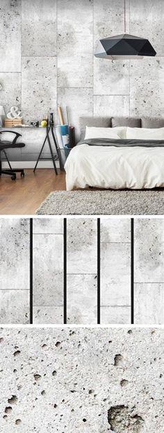 PURO TAPETE | Realistische Tapete ohne Rapport und Versatz | Kein sich wiederholendes Muster | 10m VLIES Tapetenrolle | Textur Beton grau f-C-0011-j-a