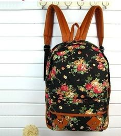 Vintage Flower School Book Campus Bag