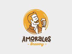 Amorales Brewery designed by Yana Klochihina Typo Logo, Logo Branding, Branding Design, Brand Identity, Typography, Lettering, Brewery Design, Restaurant Logo Design, Beer Logo Design