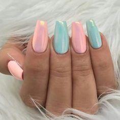 Pastel pink and blue long nails
