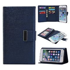 $7.19 (40% Off) on LootHoot.com - iPhone 6/6s Plus Wallet Phone Cases,REENUO PU leather Detachable Magnetic Hard Case, Foldable, Stand Feature,Flip Wallet Case with Credit Card Holders Handbag for iPhone 6/6s Plus 5.5 Inch (Blue)