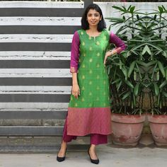Some days you just want to wear something effortless & pretty. This kancheepuram silk kurta is meant exactly for such days :) . Silk Kurti Designs, Kurta Designs Women, Kurti Designs Party Wear, Salwar Designs, Kurta Neck Design, Saree Blouse Neck Designs, Blouse Designs, Dress Designs, Salwar Pattern