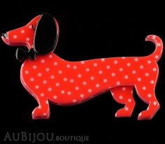 Erstwilder Dachshund Brooch Pin Spiffy the Sausage Dog Red Polka Dot