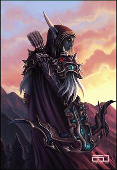 Sylvanas Windrunner - World of Warcraft fan art by Álvaro San Juan Fantasy Art Women, Dark Fantasy Art, Fantasy World, Warcraft Movie, Warcraft 3, Warcraft Characters, World Of Warcraft Wallpaper, Banshee Queen, Blizzard Warcraft