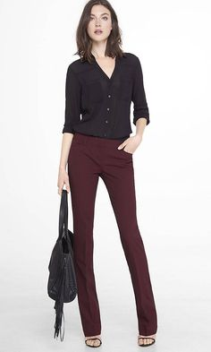 what to wear with burgundy pants.
