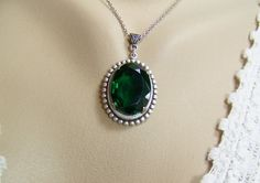 Emerald+Necklace+May+Birthstone+Framed+by+CreatedinTheWoods,+$24.95