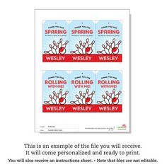 Bowling party  Custom DIY printable favor tags by chickabug, $12.00