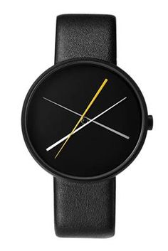 Crossover Watch by Projects. Contemporary, yet elegant hands that appear to be precariously balanced rotate around the dial. AKAR Design, www.akardesign.com