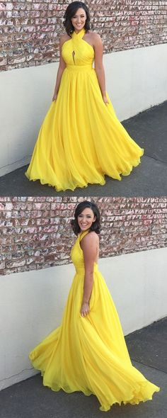 Halter Backless Pleated Long Yellow Prom Evening Dress 0219 by RosyProm, $137.99 USD