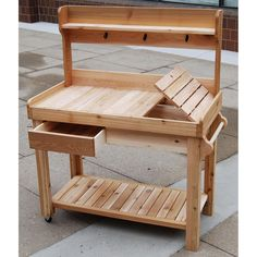 obsessed with potting benches-diy with shelf