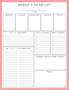 WEEKLY To Do List 1-sheet PRINTable Organization by ShePlans on Etsy https://www.etsy.com/listing/177337912/weekly-to-do-list-1-sheet-printable