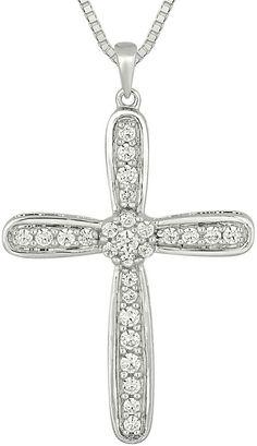 Fine Jewelry White Topaz Sterling Silver Cross Pendant Necklace zhlSVt7
