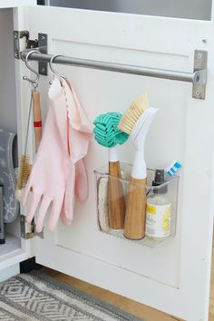 The February Household Organization Diet - Kitchen Organization. Everything you need to get your kitchen deep cleaned, decluttered, and organized. Create extra storage space by using the inside of your cabinet doors. Apartment Kitchen Organization, Under Sink Organization, Sink Organizer, Clutter Organization, Household Organization, Bathroom Organization, Organization Ideas, Organization Station, Apartment Ideas