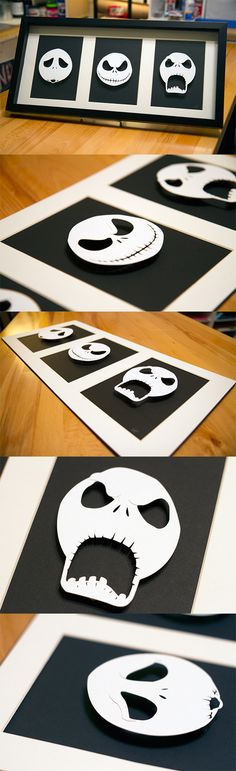 Jack Skellington Heads - hand cut 3D paper craft in shadowbox  willpigg.etsy.com