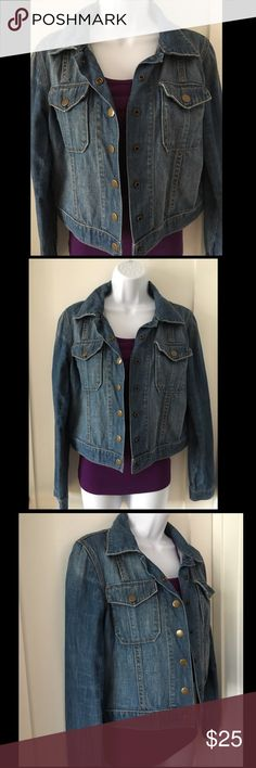 GAP Denim Jacket EUC Blue denim jacket sits just at the waist. Copper tone button front and 2 front flap pockets with buttons. Faded throughout for a worn, broken in appearance.100% Cotton GAP Jackets & Coats Jean Jackets