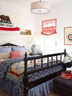 teen room, boys bedroom, bedding mix, white walls