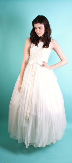 1950s Wedding Dress - Vintage Lace - Dress - Dresses - White Wedding ...