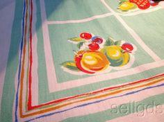 Vintage 1940s Tablecloth Jadite Green Fruit Orig Paper Label Cavencraft
