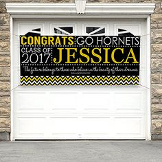 PERFECT idea for a graduation party! It's a graduation banner that you can personalize with their school colors and info! Have their friend's and family sign it for a fun graduation guest book!
