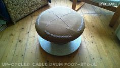 Woollysaurus // Up-cycled cable drum foot-stool