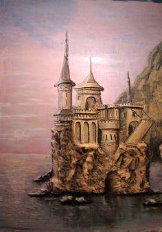 """Барельеф, Рельефное панно """" Замок на воде"""""""