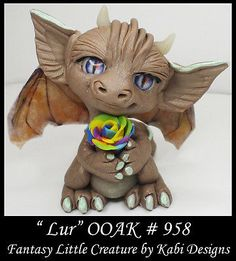 Handmade Fantasy Little Dragon DollHouse Art Doll Polymer Clay CDHM OOAK Lur