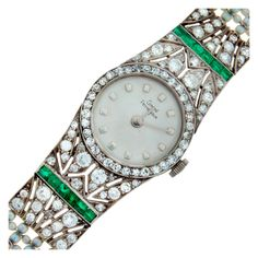 Fabulous Art Deco lady's wristwatch created by renowned Swiss watch company Girard Perregaux. Dressy yet wearable. Very tastefully made jeweled timepiece. Circa 1920s