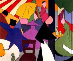 The Cafe, 1914 by Alberto Magnelli. Cubism. genre painting