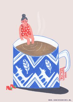 """Yesterday I made a GIF. Lovely to see one of my illustrations come to life. """"Morning Coffee""""It's how i feel in the morning, the size off the cup is about right… Coffee Gif, Coffee Love, Gifs, Gif Animé, Animated Gif, Coffee Illustration, Illustration Art, Swimming Gif, Lake Mcdonald"""