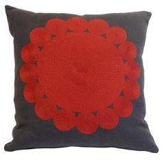Big Little Circles Cushion 43cm x 43cm Red on Grey Linen  Hand Embroidered with Tapestry Wool onto 100% Linen ----- About the designer: Charlene Mullen From her training in both illustration, print and an established career in the fashion industry, she has successfully turned her talents to designing luxury homewares. Since the launch of the studio in September 2008 at 100% Design where she made the best newcomer list, she has won international acclaim having work shown in London, Paris…