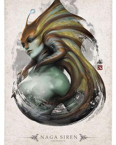 Naga Siren by Artgerm Fantasy Kunst, Dark Fantasy Art, Batman Arkham City, Batman Arkham Origins, Dota Tattoo, Dota 2 Cosplay, Dota2 Heroes, Character Art, Character Design