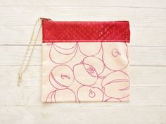 Zipper pouch cosmetic bag pencil case wallet purse make up pouch apples russet peach red hand screen printed cotton Marimekko Christmas gift by poppyshome on Etsy