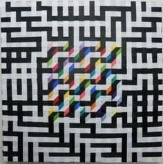 """A Maze Me I by Sally Shore Woven ribbon on stretchers combining several weave structures: shadow weave, tri-azial weave and satin weave. There is a maze path on the black and colored ribbons, 30x30"""" 2011"""