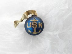 United States Navy Glitter Ornament - Personalized Navy and Gold Military Ornament