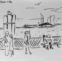 Dockside at #BatteryPark in #NYC - http://www.redbubble.com/people/bartcastle/shop #illustration #art #originalart #artist #ocean #birds #drawing #drawings #sketchbook #sketching #sketches #marker #inktober #boats #statueofliberty #lifedrawing #quicksketch #dock #harbor #eastriver #hudsonriver #newyork