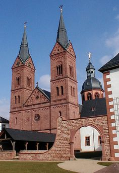Seligenstadt- Einhard-Basilika -  built by Einhard, Charlemagne's chronicler and confidante. Carolingian church built between 824 and 827 is one of the very few Carolingian buildings that have largely survived.