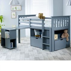 If you want to surprise your child with a cosy, modern sleep station with storage and a pull-out desk where they can relax, the Milo Mid Sleeper bed is the perfect choice for you. This beautifully finished cabin bed is the perfect addition to your child's Loft Spaces, Modern Spaces, Kids Bed Frames, Ideas Habitaciones, Mid Sleeper Bed, Modern Bunk Beds, Desk Storage, Storage Units, Kids Storage