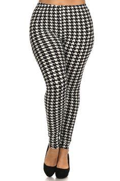 Black/White Houndstooth Design Plus Size Leggings