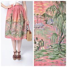 Vintage 1950's Louisiana Bayou Novelty Print Skirt/