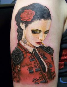 'Bull Fight Her' from the artwork of Brian M.Viveros; Tattoo by David Corden