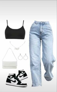 Swaggy Outfits, Baddie Outfits Casual, Style Outfits, Retro Outfits, Cute Casual Outfits, Moda Streetwear, Streetwear Fashion, Girls Fashion Clothes, Teen Fashion Outfits