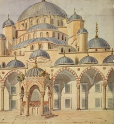 Sultan Ahmet Camil (Blue Mosque), Istanbul Artist: Charles Felix Marie Texier, 1830s Copyright: RIBA Library Drawings Collection