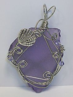 Wire Wrapped Purple Sea Beach Glass Pendant with Sea Shell by Rebecca Weber