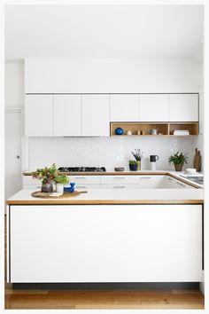 Kitchen island ideas for inspiration on creating your own dream kitchen. diy painted small kitchen design - with seating and lighting Minimalist Modern Kitchens, Modern Kitchen Design, Interior Design Kitchen, U Shaped Kitchen Interior, Kitchen Designs, Eclectic Kitchen, Contemporary Kitchens, Home Design, Minimalist Design