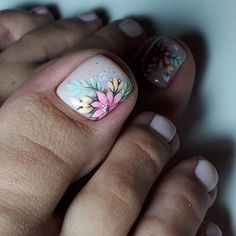Pedicure Designs, Pedicure Nail Art, Toe Nail Designs, Toe Nail Art, Acrylic Nail Designs, New Nail Art Design, Pretty Toe Nails, Feet Nails, Nail Studio