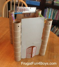 building with straws and cardboard